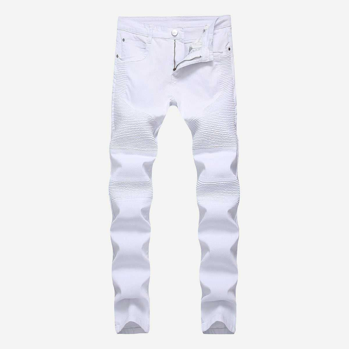Guys Solid Jeans in White by ROMWE on GOOFASH