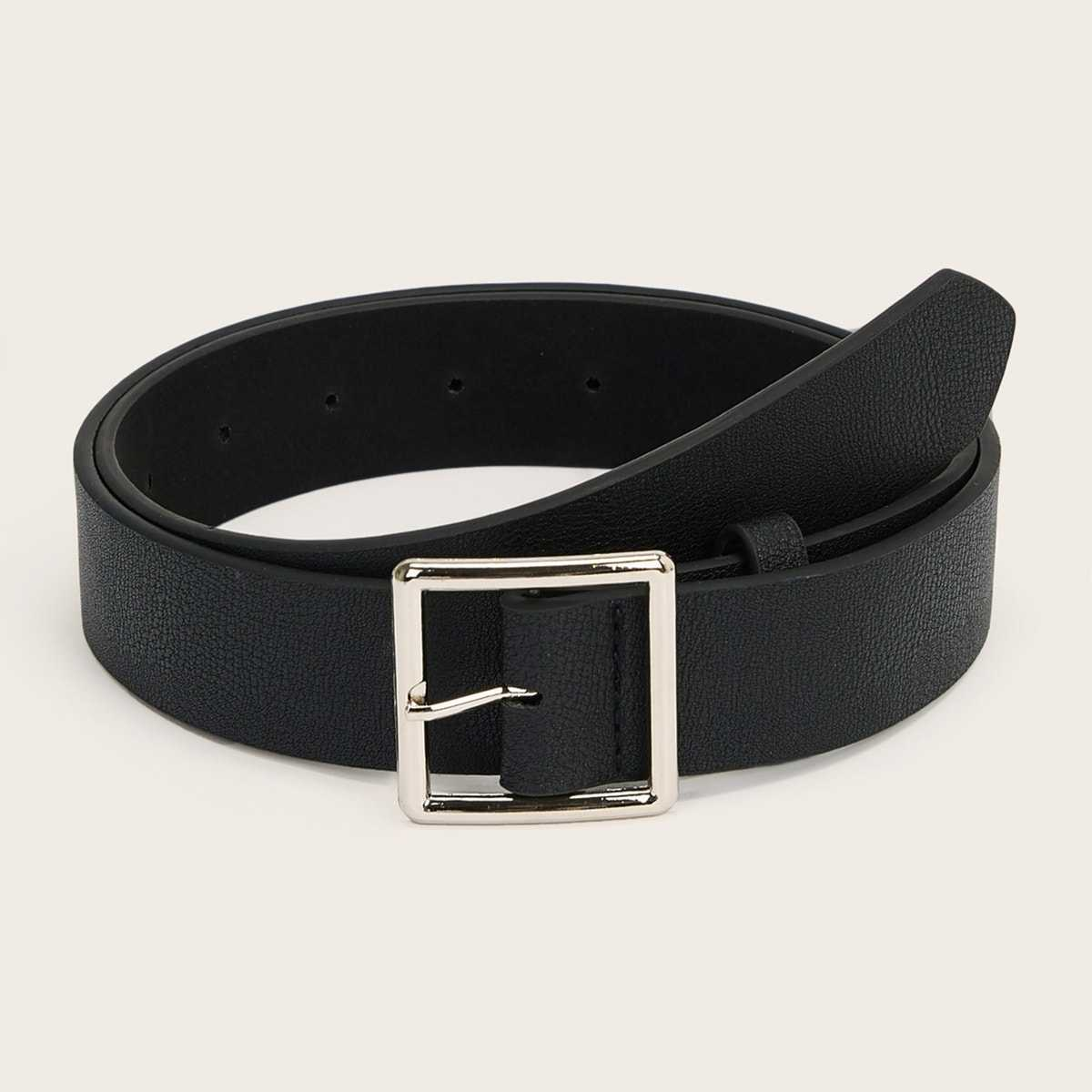 Guys Square Metal Buckle Belt in Black by ROMWE on GOOFASH