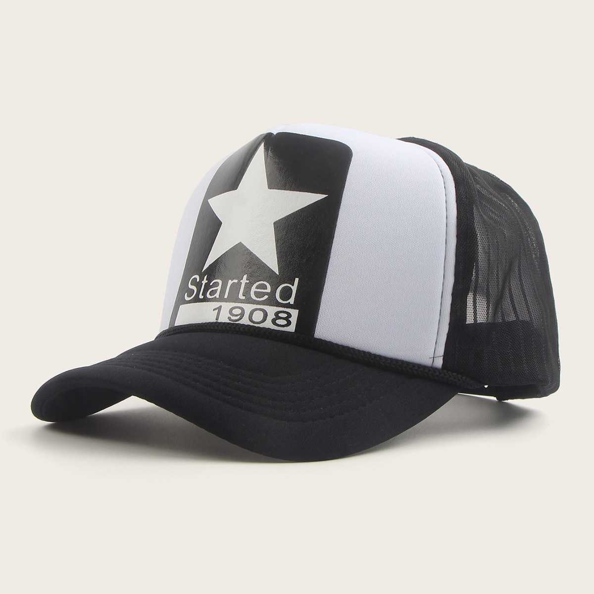 Guys Star Pattern Mesh Baseball Cap in Multicolor by ROMWE on GOOFASH