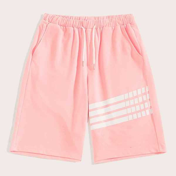 Guys Striped Drawstring Waist Sweat Shorts in Pink by ROMWE on GOOFASH
