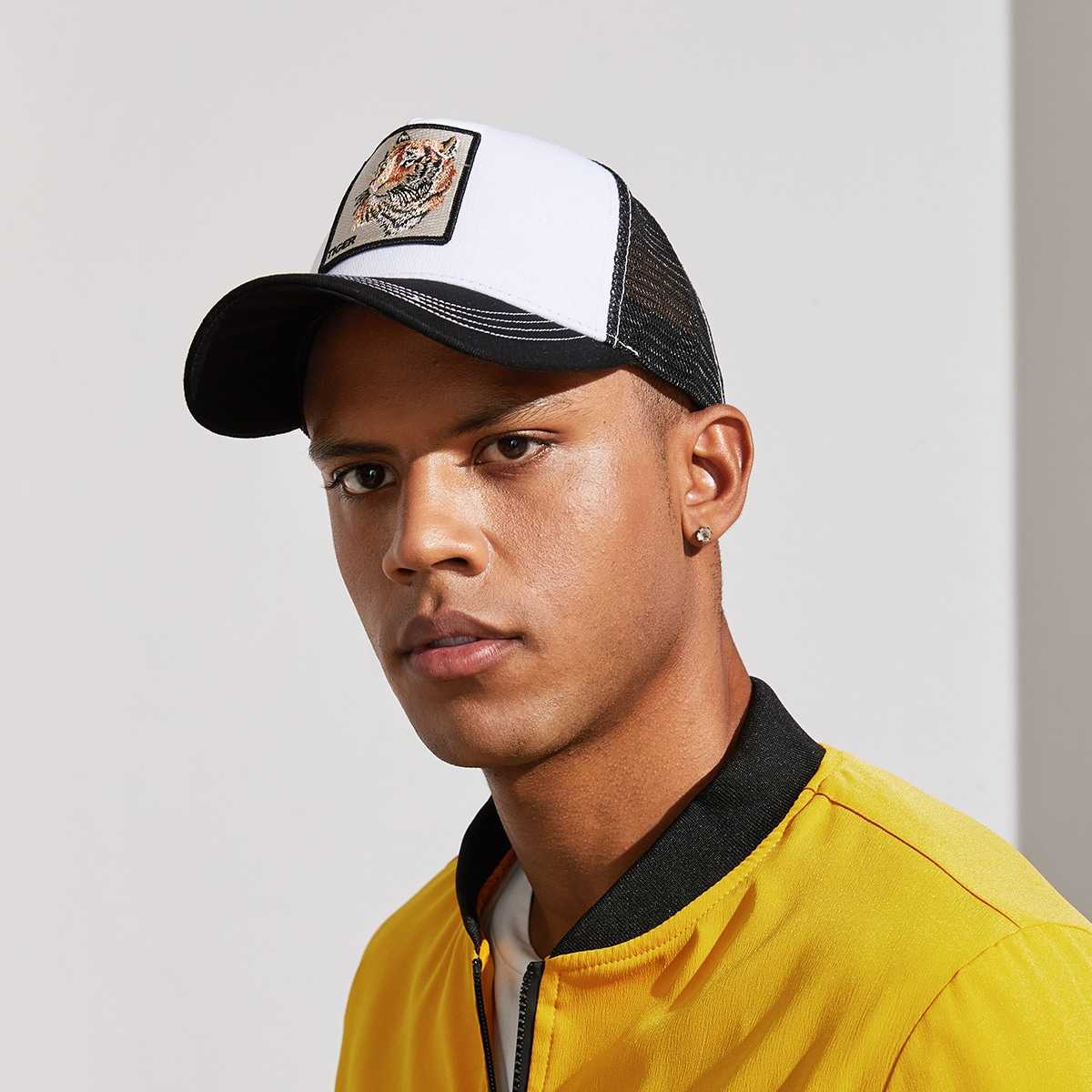 Guys Tiger Embroidery Baseball Cap in Multicolor by ROMWE on GOOFASH