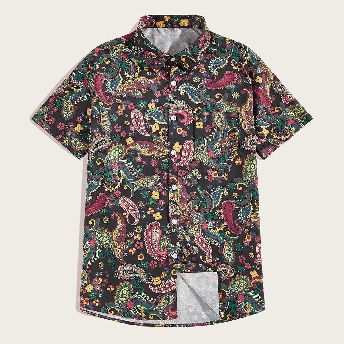 Guys Tribal And Floral Print Shirt in Multicolor by ROMWE on GOOFASH