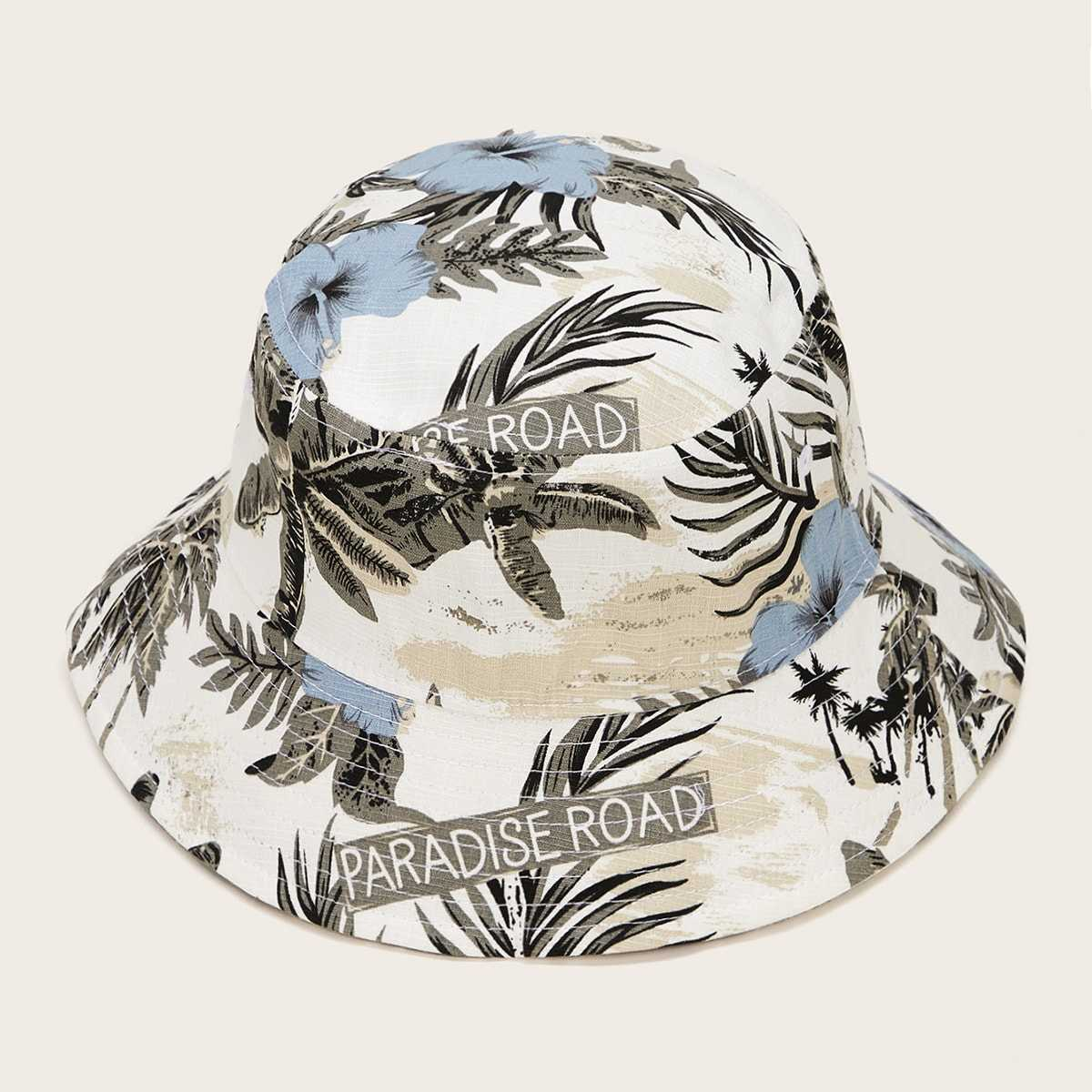 Guys Tropical Print Bucket Hat in Multicolor by ROMWE on GOOFASH