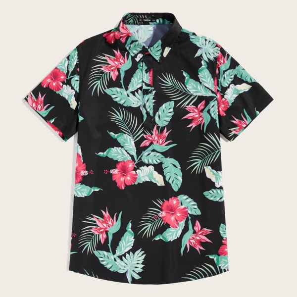 Guys Tropical Print Shirt in Black by ROMWE on GOOFASH