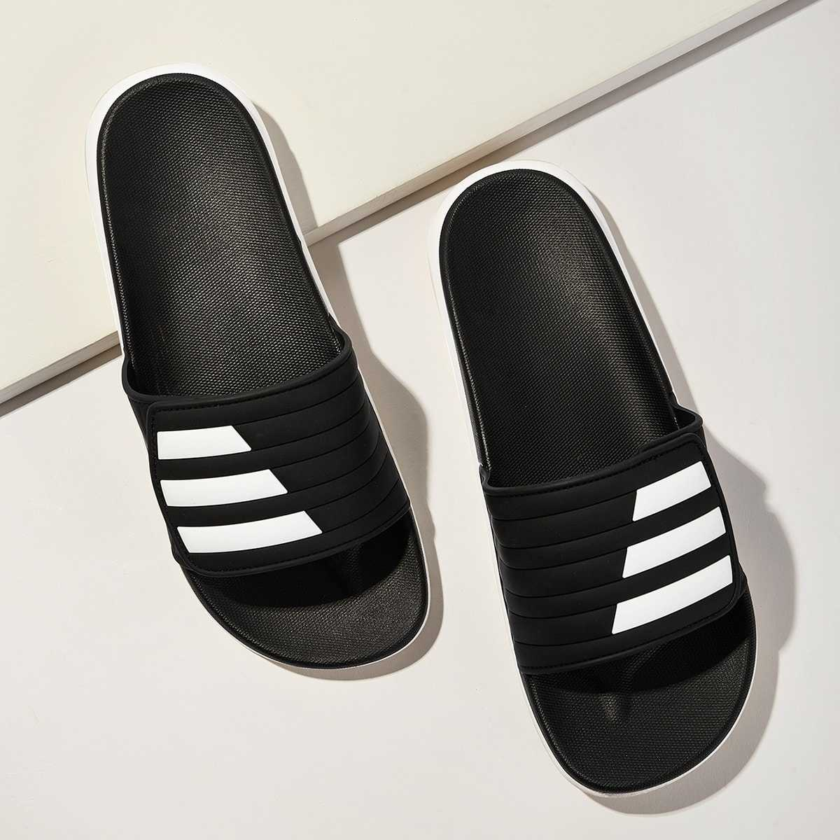 Guys Two Tone Flat Slippers in Black and White by ROMWE on GOOFASH