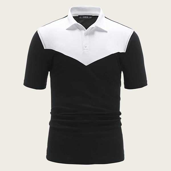 Guys Two Tone Polo Shirt in Black and White by ROMWE on GOOFASH
