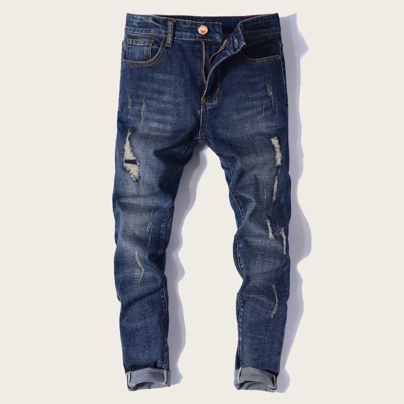 Guys Zip Fly Ripped Washing Skinny Jeans in Blue by ROMWE on GOOFASH