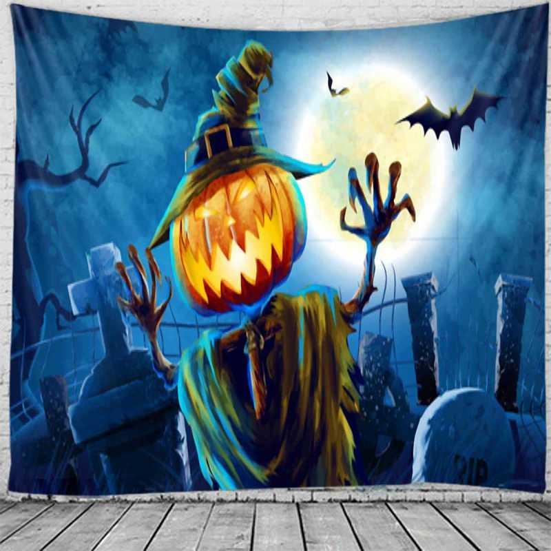 Halloween Pumpkin Monster Print Tapestry in  by ROMWE on GOOFASH