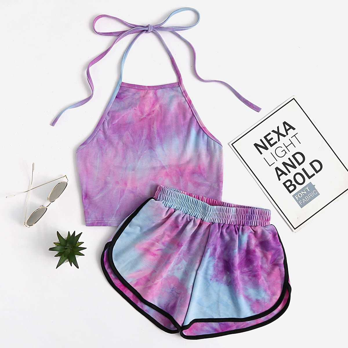 Halter Neck Water Color Crop Top With Ringer Shorts in Purple by ROMWE on GOOFASH