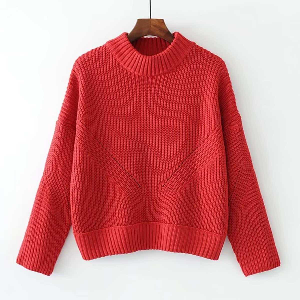 High Neck Ribbed Knit Sweater in Red by ROMWE on GOOFASH