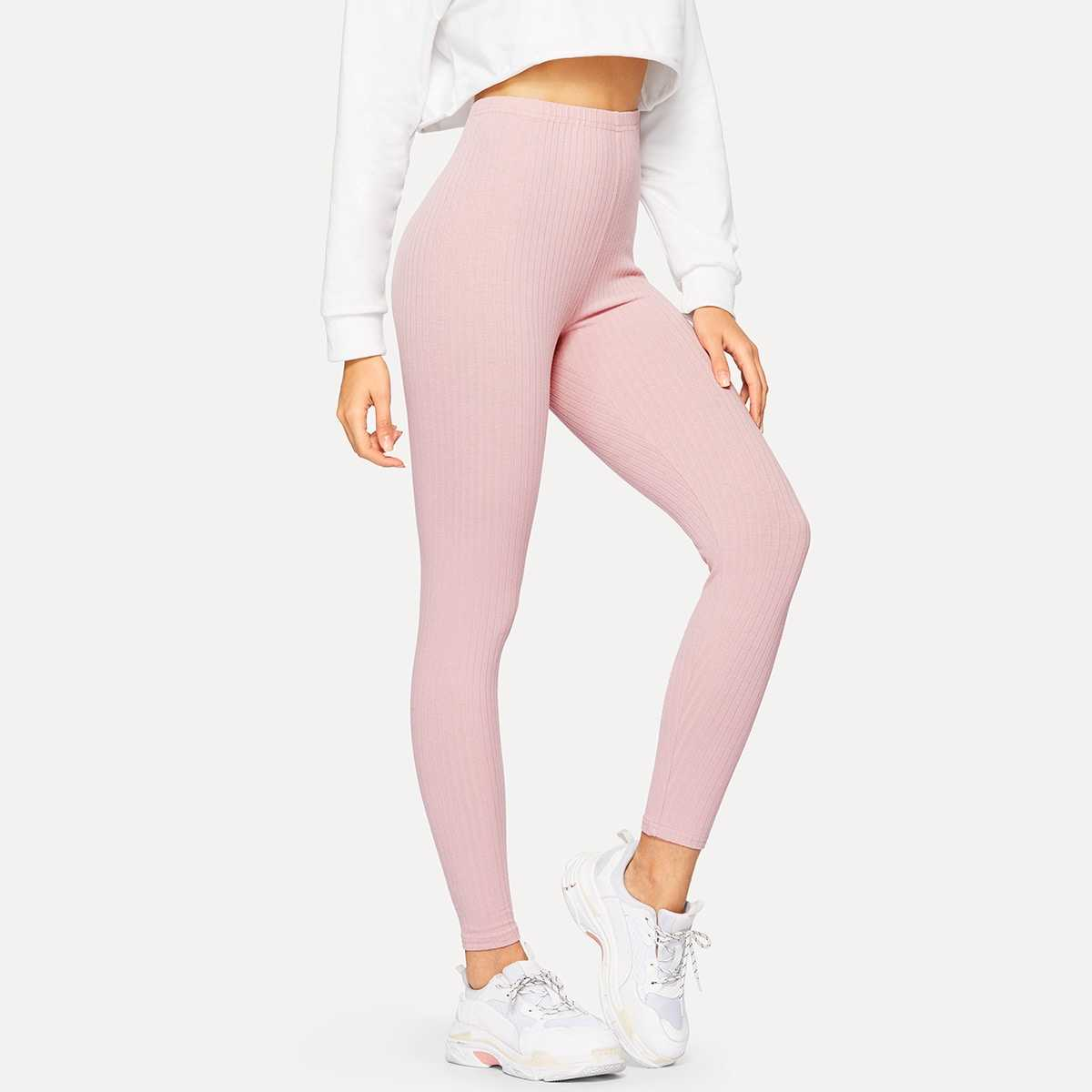 High Waist Ribbed Knit Solid Leggings in Pink Pastel by ROMWE on GOOFASH