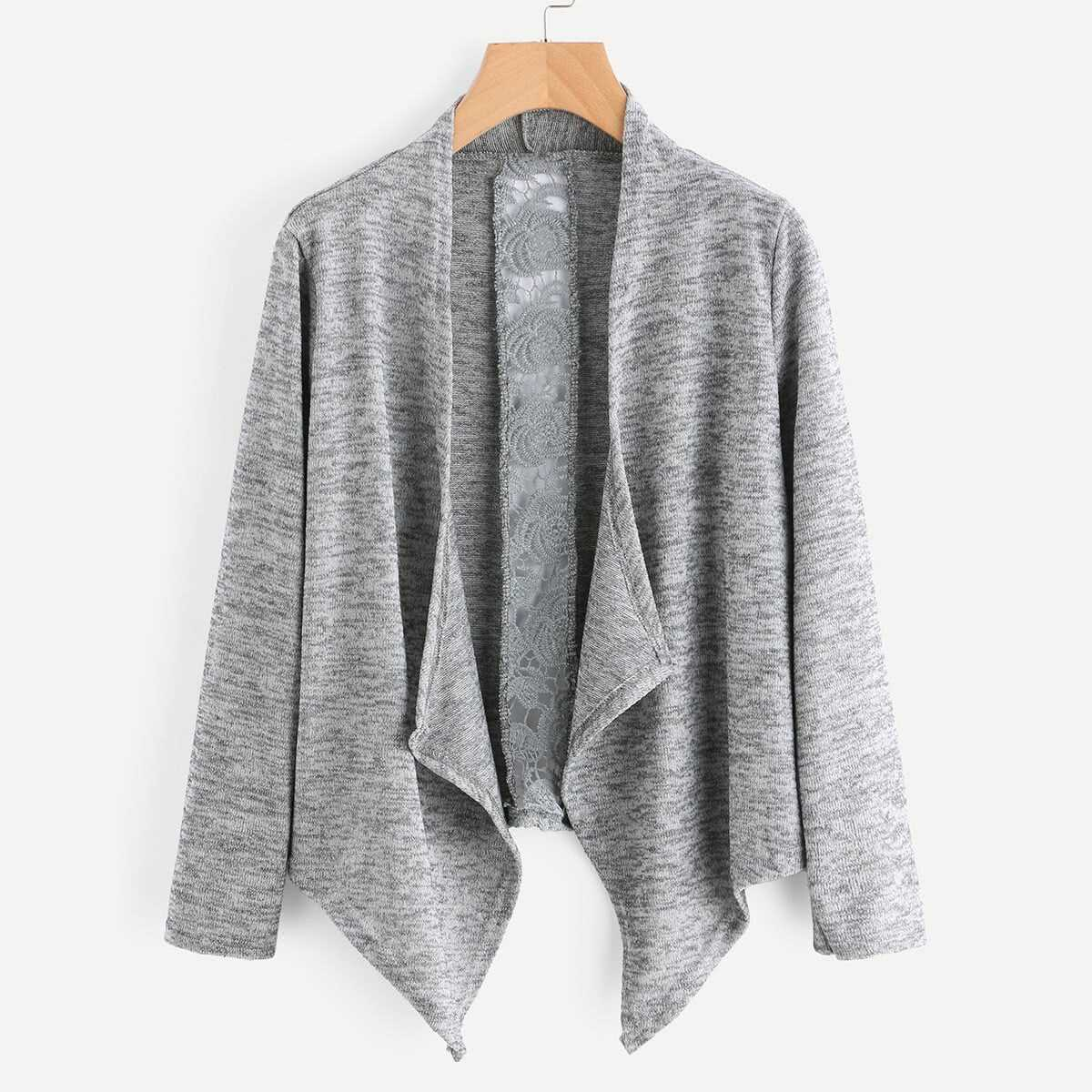 Hollow Out Crochet Panel Marled Knit Cardigan - Shein - GOOFASH