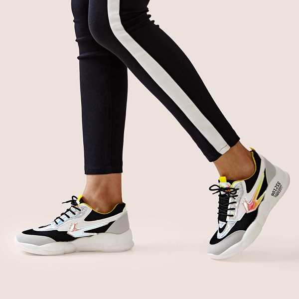 Holographic Detail Chunky Sole Trainers in Multicolor by ROMWE on GOOFASH