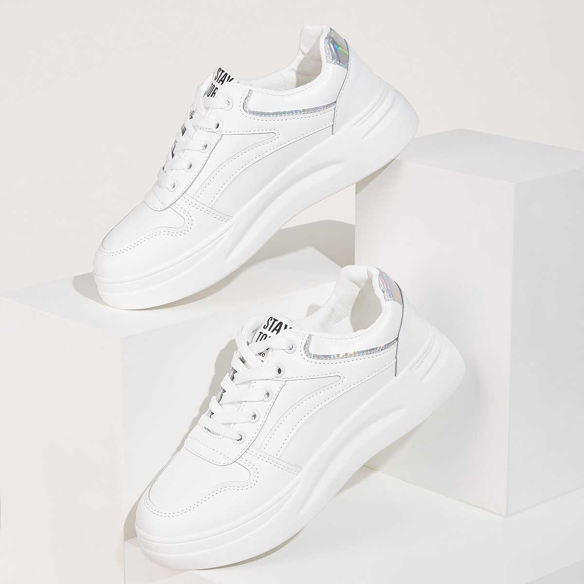Holographic Detail Chunky Sole Trainers in White by ROMWE on GOOFASH