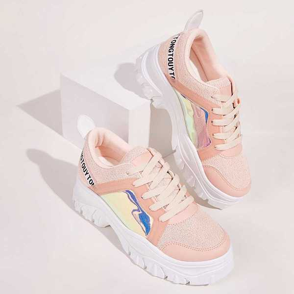 Holographic Panel Chunky Sole Trainers in Pink by ROMWE on GOOFASH