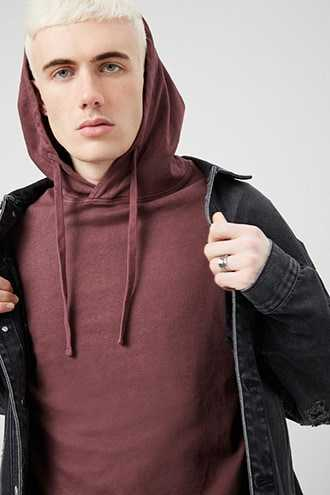 Hooded Drawstring Top at Forever 21  Berry - GOOFASH