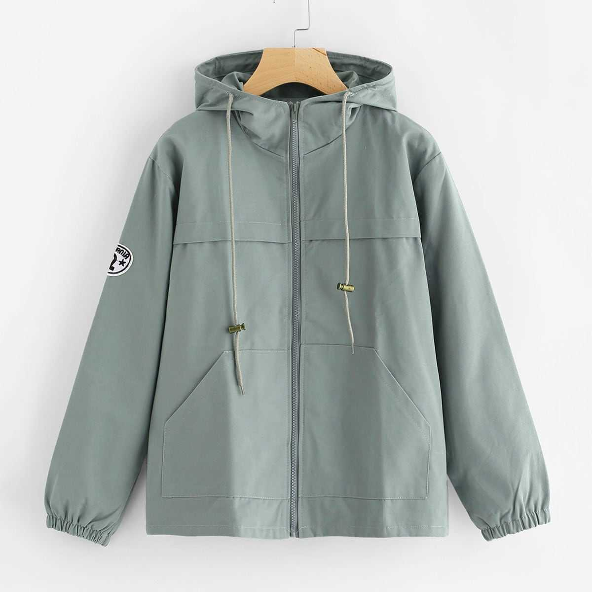 Hooded Drawstring Zip Up Jacket in Blue by ROMWE on GOOFASH