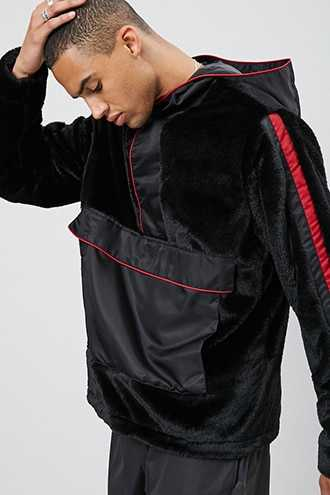 Hooded Faux Fur & Nylon Pullover Jacket at Forever 21  Black/red - GOOFASH