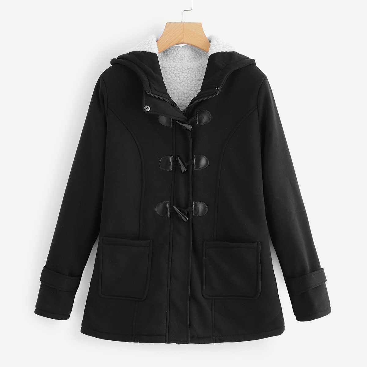 Horn Buckle Dual Pocket Coat in Black by ROMWE on GOOFASH