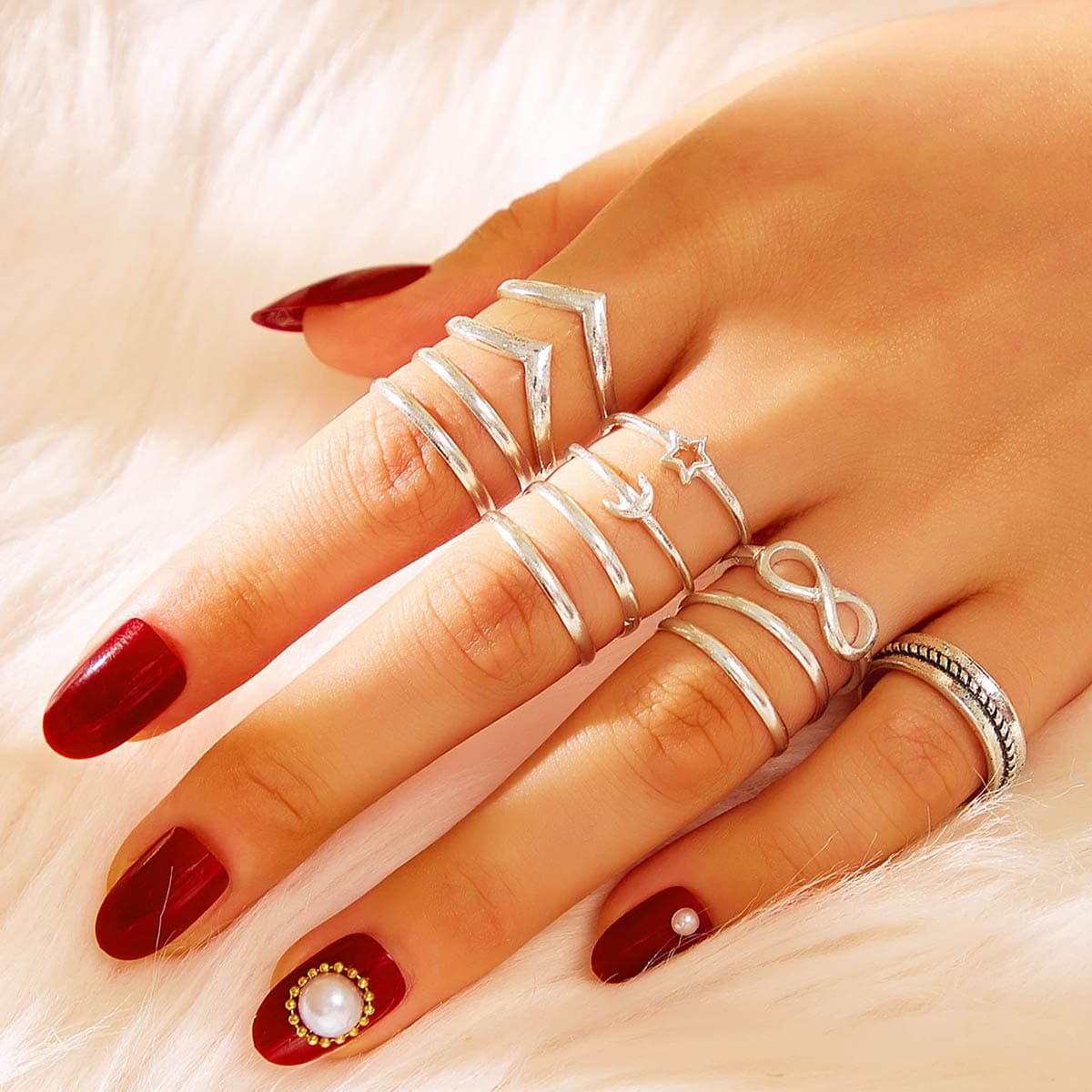 Infinity & Star Decor Ring 12pcs in Silver by ROMWE on GOOFASH