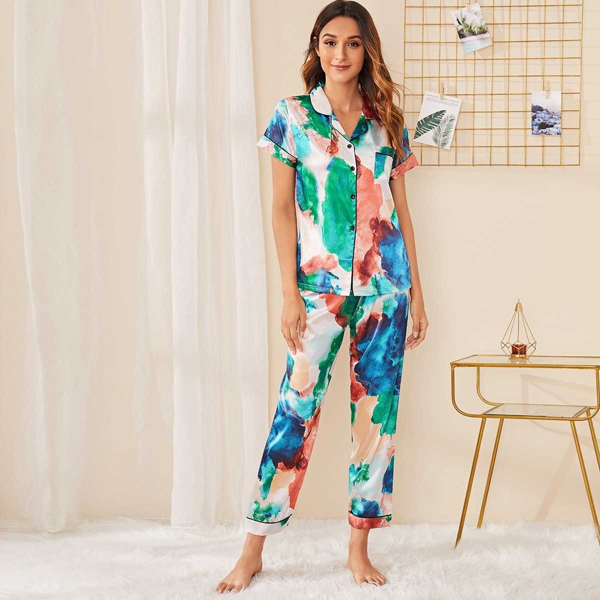 Ink Painting Print Satin Pajama Set in Multicolor by ROMWE on GOOFASH