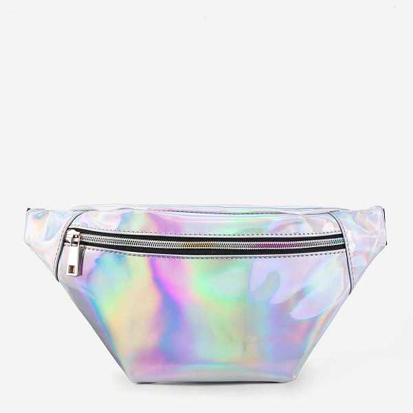 Iridescent Fanny Pack With Skinny Belt in Silver by ROMWE on GOOFASH