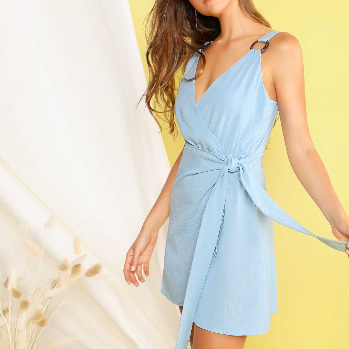 Keyhole Back Ring Detail Wrap Knot Dress in Blue Pastel by ROMWE on GOOFASH