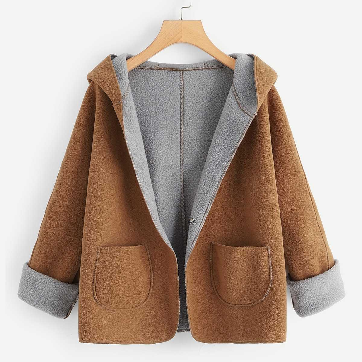 Khaki Contrast Sherpa Lining Single Button Hooded Coat in Brown by ROMWE on GOOFASH
