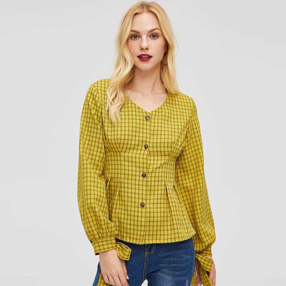 Knot Cuff Pleated Detail Buttoned Plaid Blouse - Shein - GOOFASH