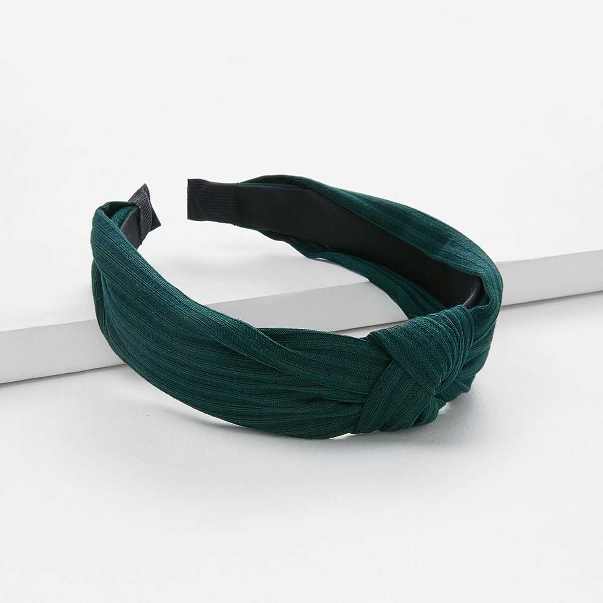 Knot Design Wide Headband in Green by ROMWE on GOOFASH
