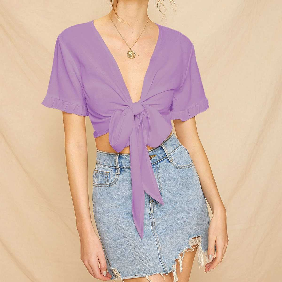 Knot Front Frill Cuff Crop Blouse in Purple by ROMWE on GOOFASH