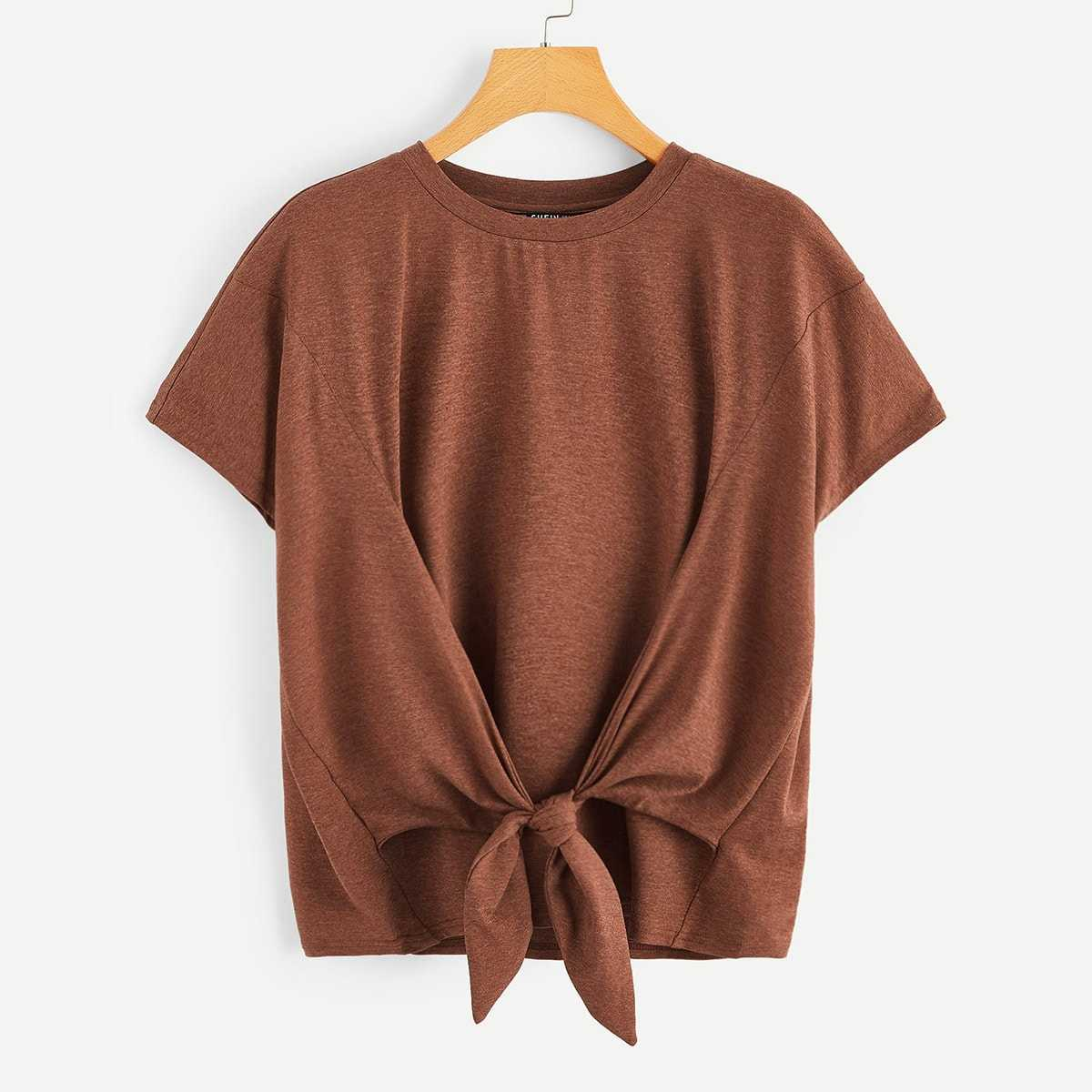 Knot Front Heather Knit Top in Brown by ROMWE on GOOFASH