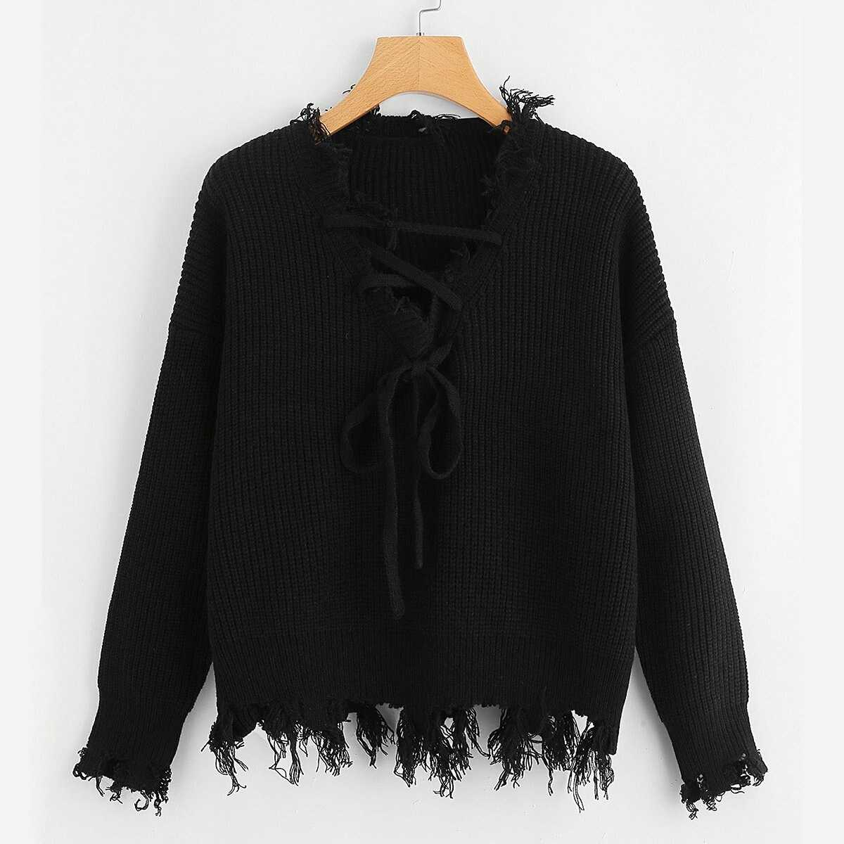 Knot Front Solid Jumper - Shein - GOOFASH