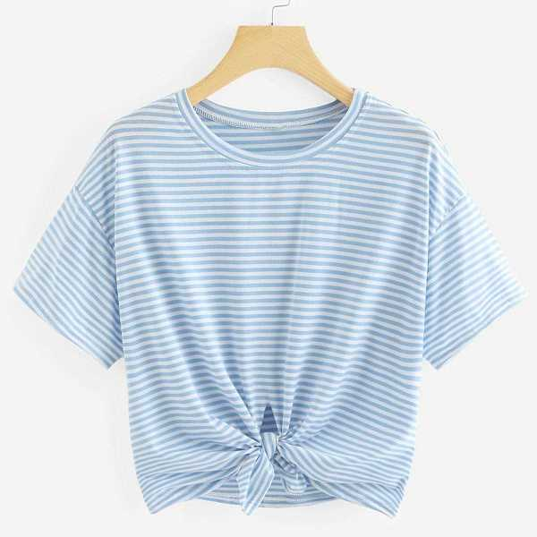 Knot Front Striped Tee in Blue by ROMWE on GOOFASH