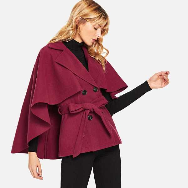 Knot Notched Neck Solid Coat - Shein - GOOFASH