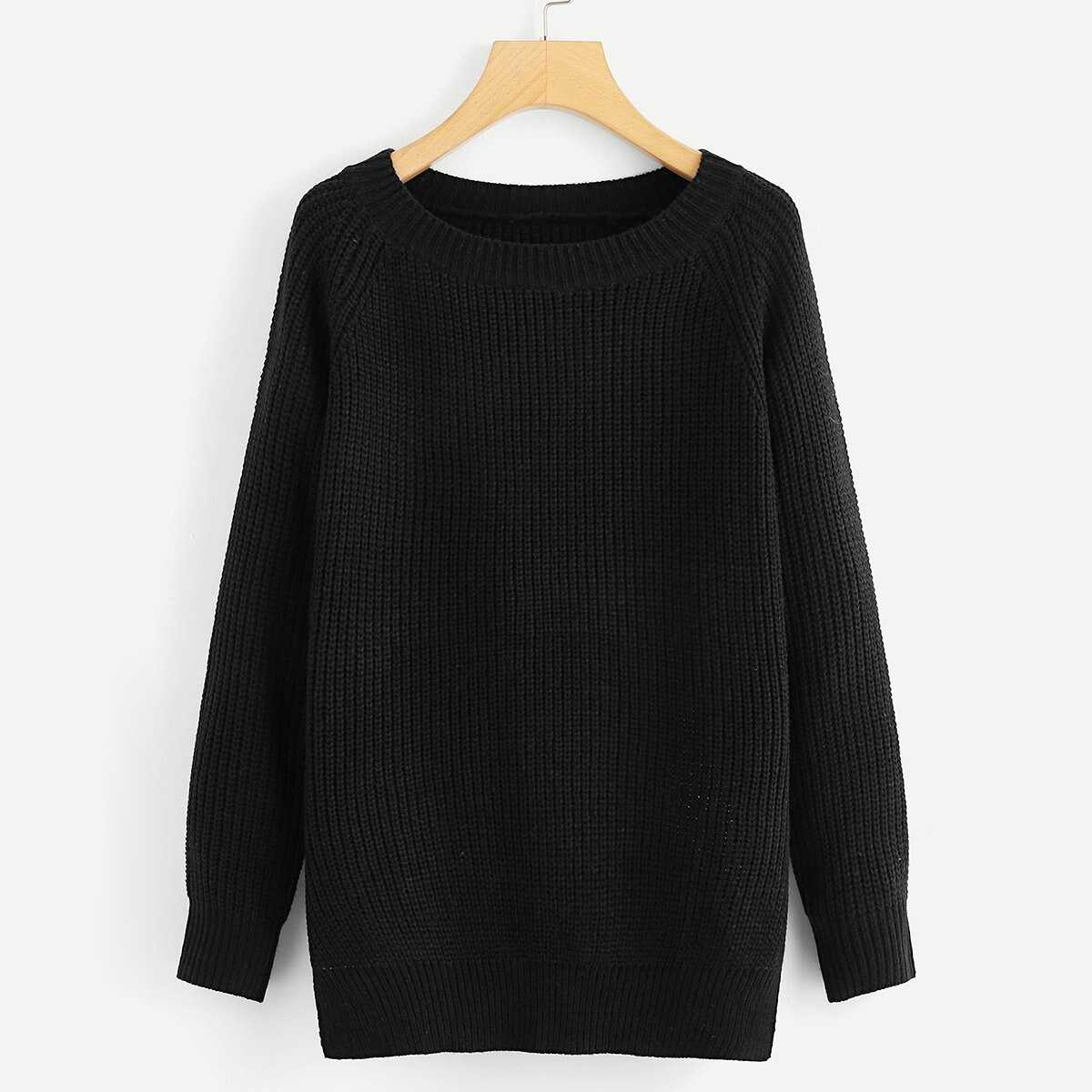 Knot Open Back Solid Sweater - Shein - GOOFASH
