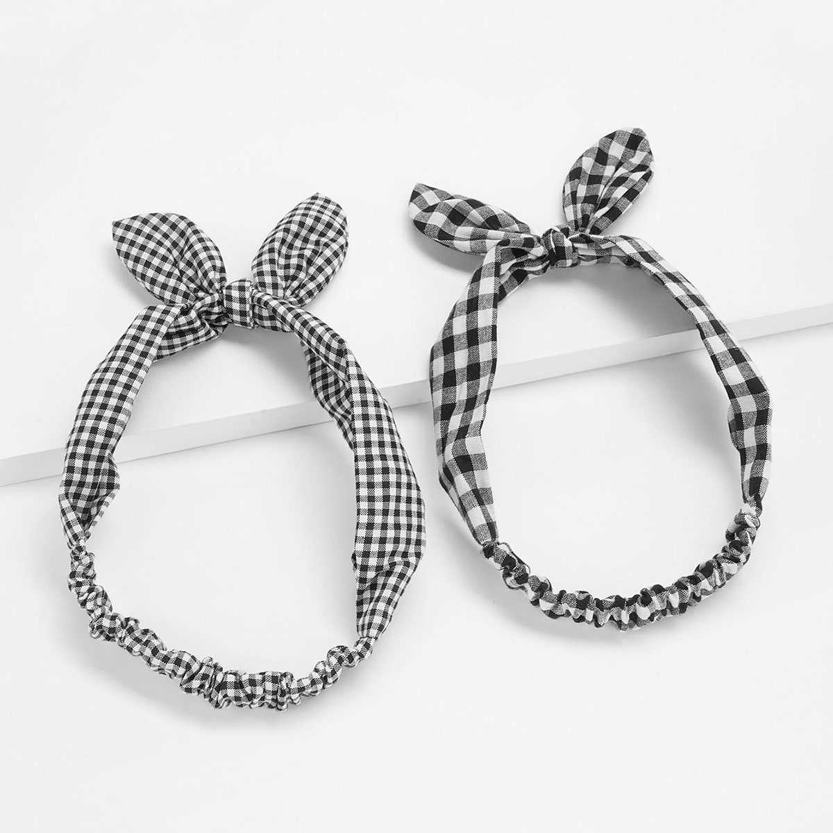 Knotted Bow Plaid Headband 2pcs in Black and White by ROMWE on GOOFASH