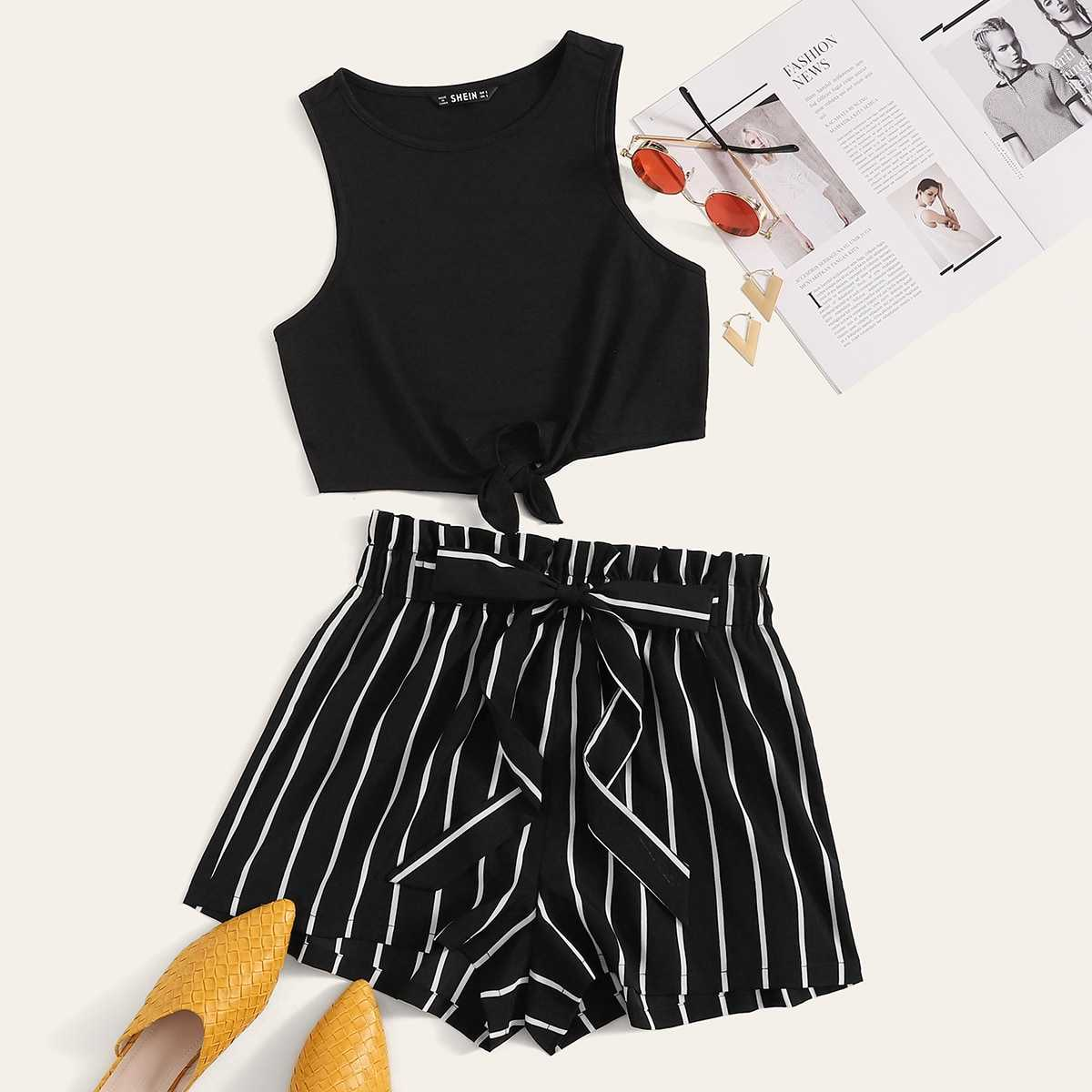 Knotted Hem Top & Striped Paperbag Waist Shorts Set in Black by ROMWE on GOOFASH