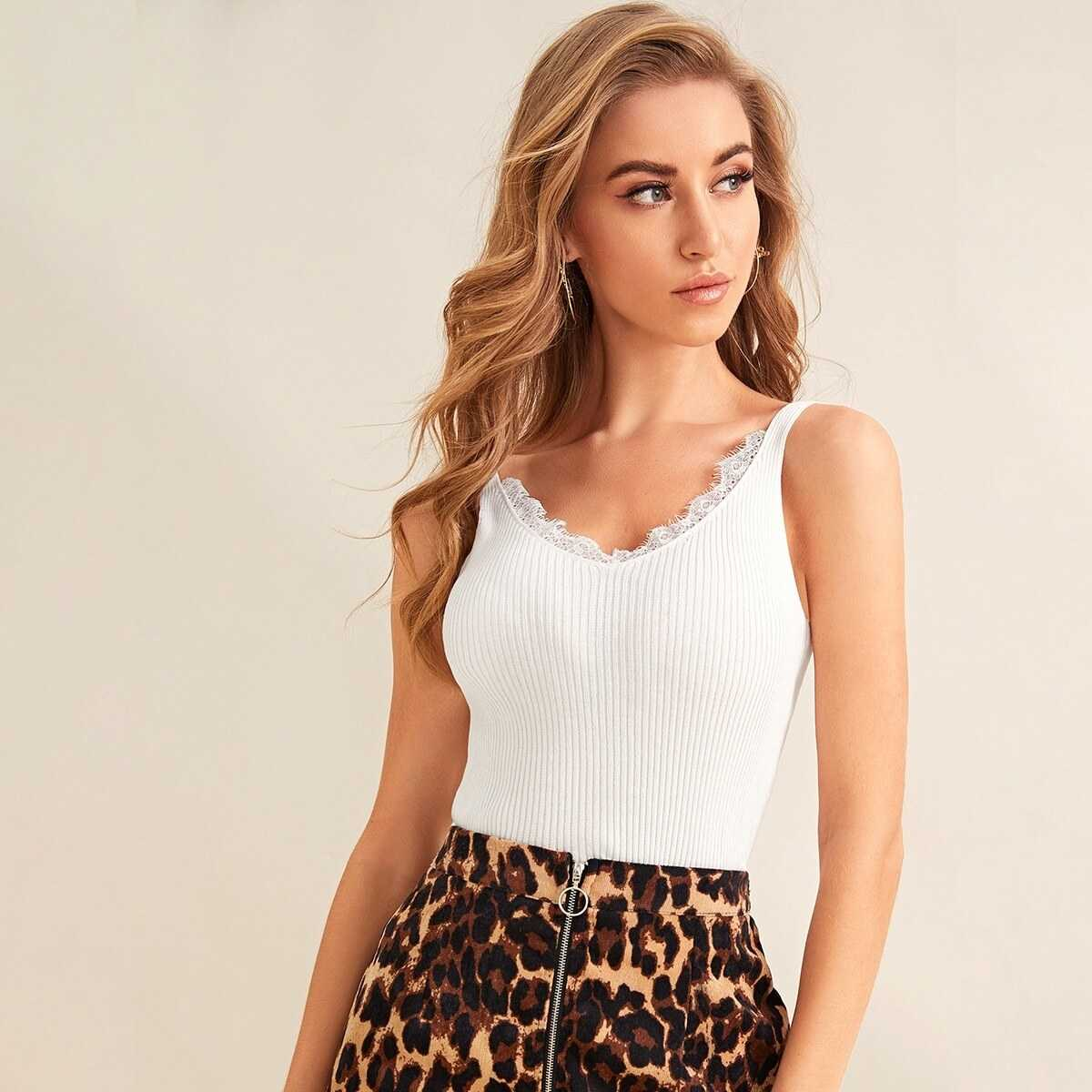 Lace Panel Solid Knit Top in White by ROMWE on GOOFASH
