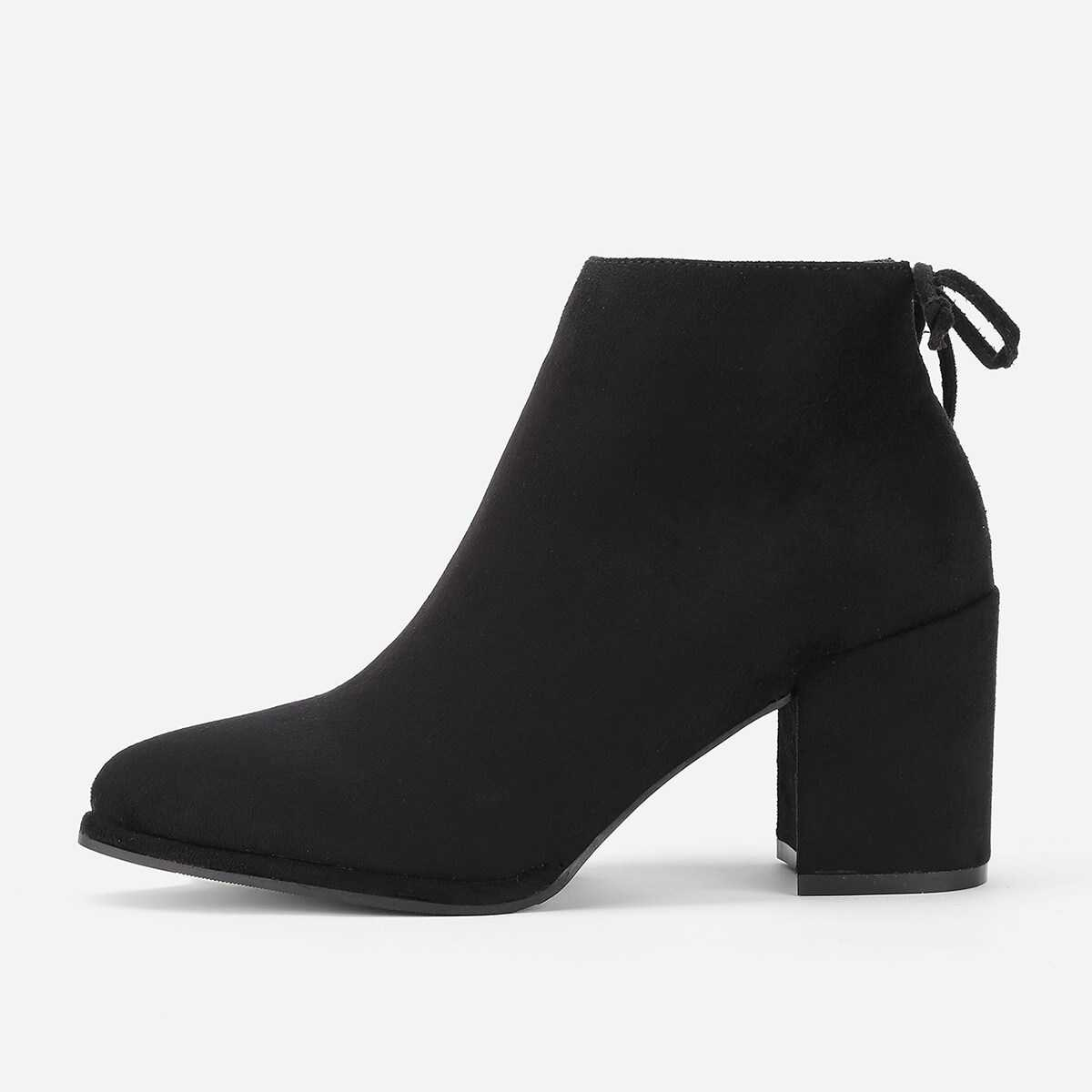 Lace Up Back Block Heeled Ankle Boots - Shein - GOOFASH