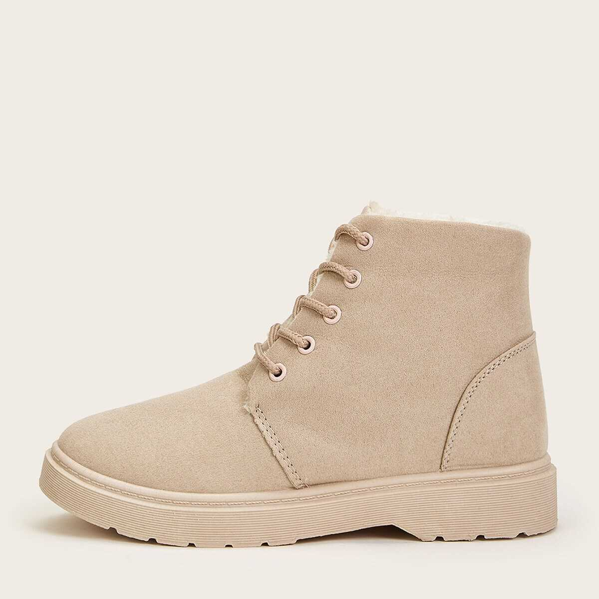 Lace Up Faux Fur Lined Boots in Beige by ROMWE on GOOFASH