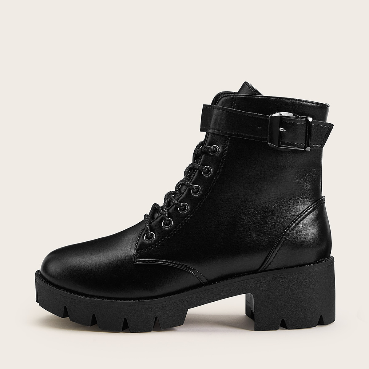 Lace Up Platform Boots in Black by ROMWE on GOOFASH