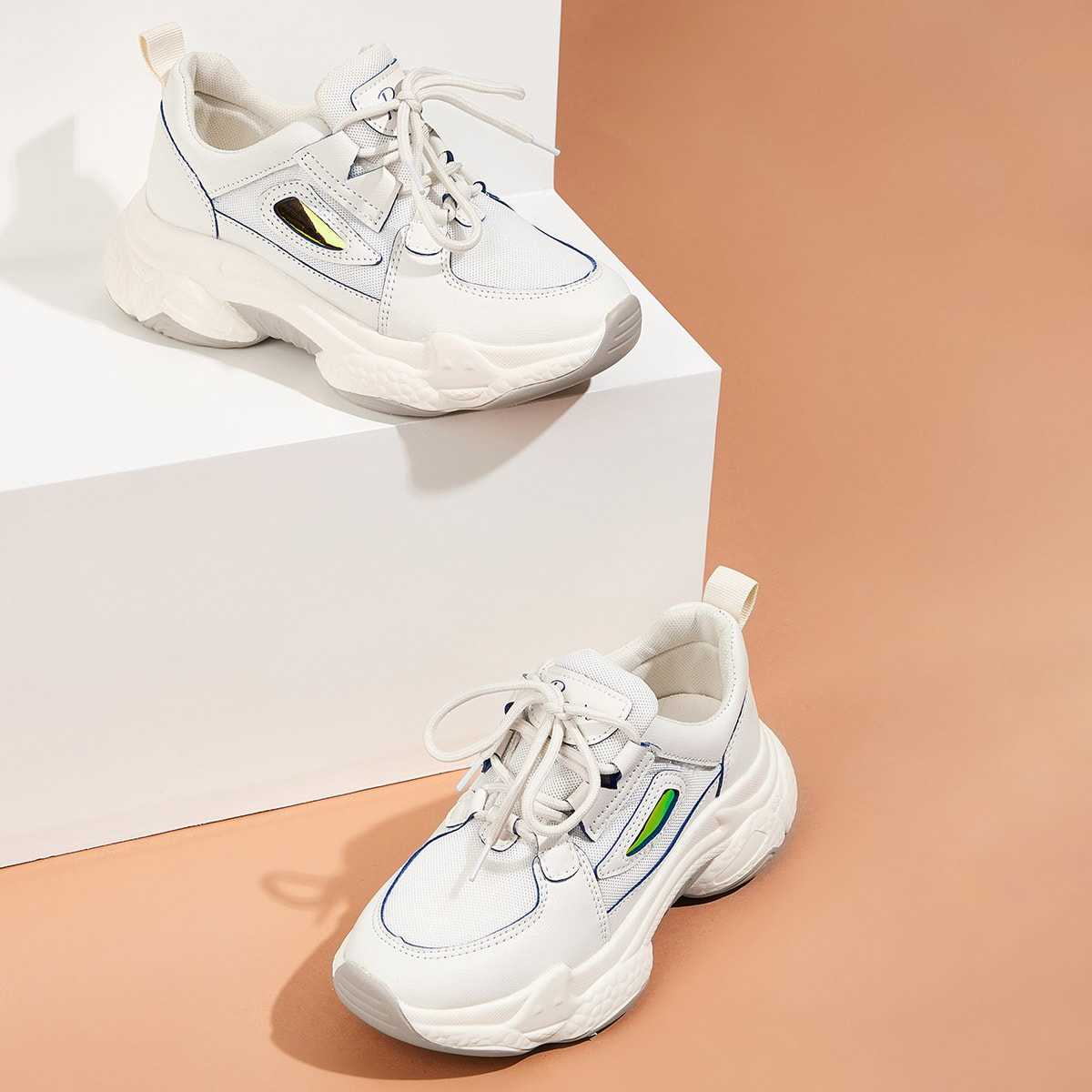 Lace-up Front Chunky Sole Mesh Trainers in White by ROMWE on GOOFASH