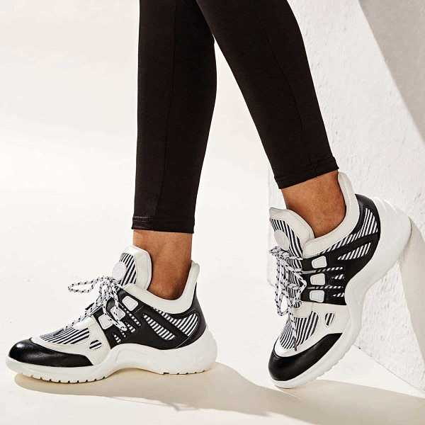 Lace-up Front Chunky Sole Trainers in Black and White by ROMWE on GOOFASH