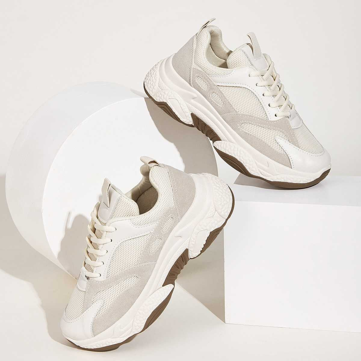 Lace-up Front Chunky Sole Trainers in Grey by ROMWE on GOOFASH