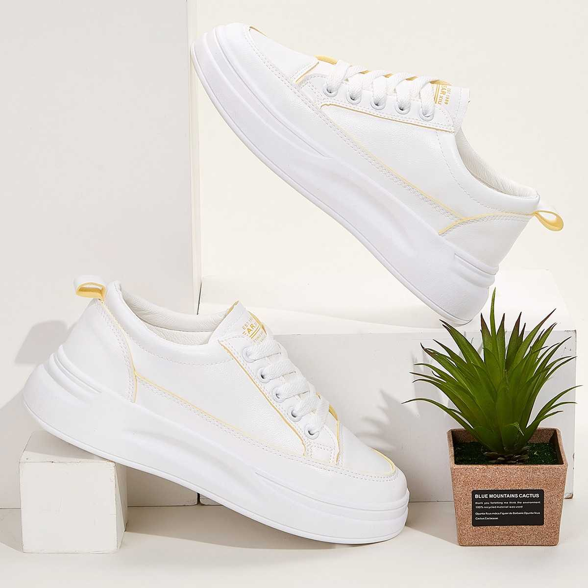 Lace-up Front Chunky Sole Trainers in White by ROMWE on GOOFASH