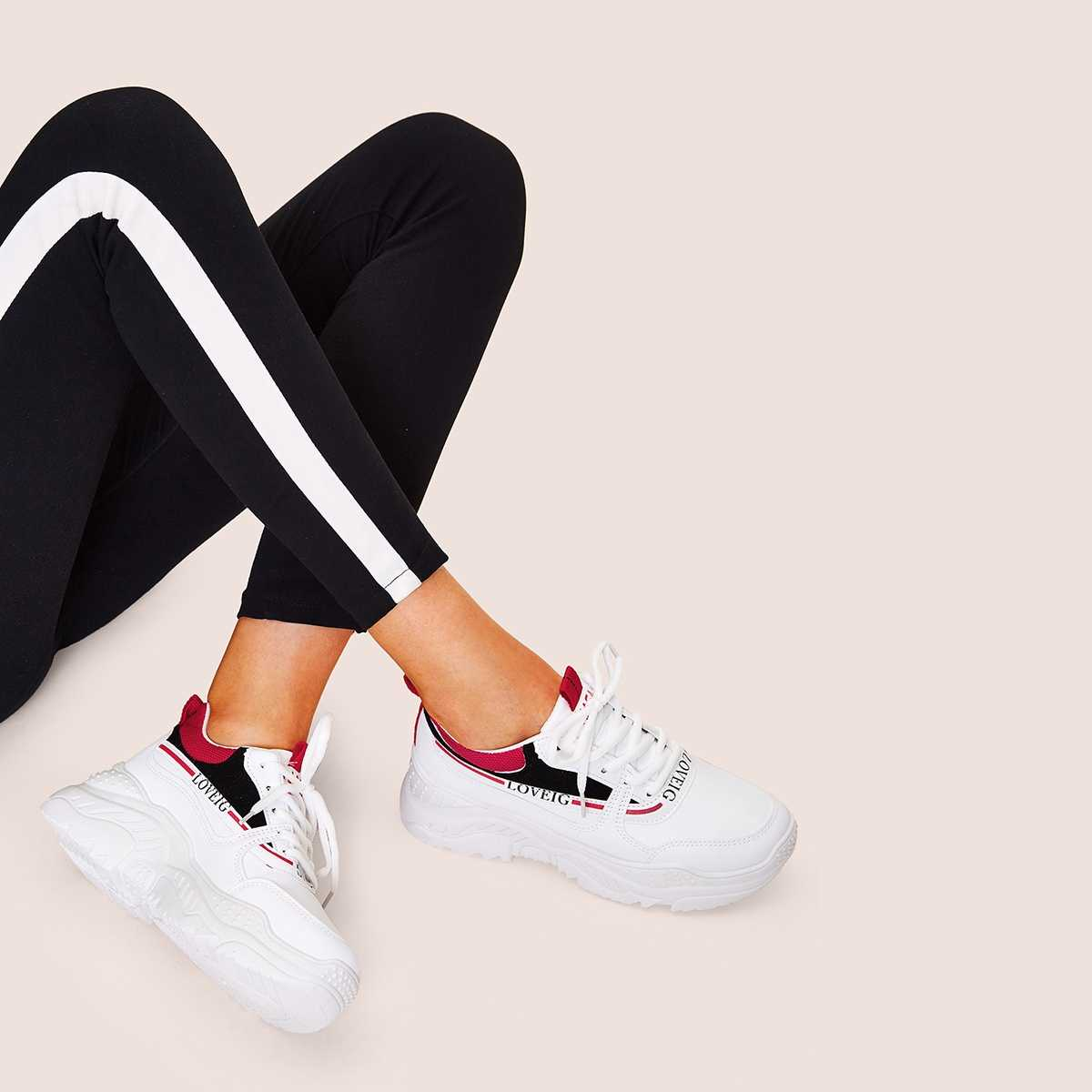 Lace-up Front Flatform Chunky Sole Trainers in Multicolor by ROMWE on GOOFASH