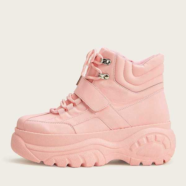 Lace-up Front Flatform Chunky Sole Trainers in Pink by ROMWE on GOOFASH