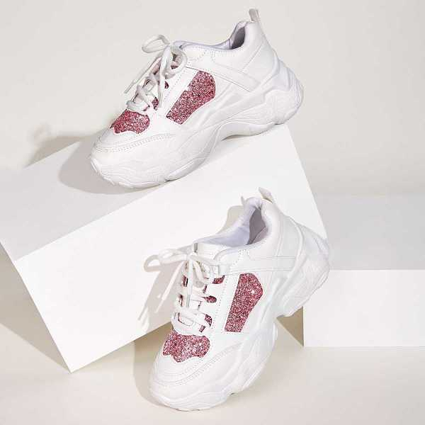 Lace-up Front Glitter Detail Chunky Sole Trainers in Multicolor by ROMWE on GOOFASH