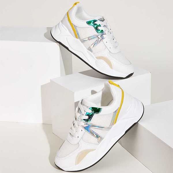 Lace-up Front Holographic Detail Trainers in Multicolor by ROMWE on GOOFASH